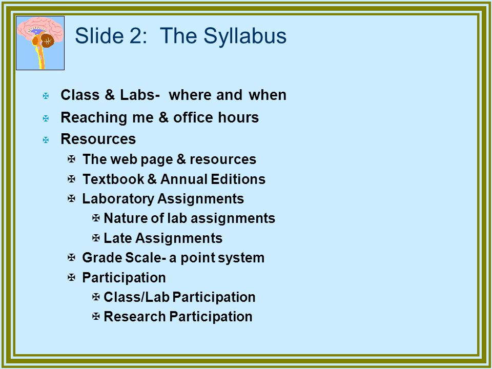 Slide 2: The Syllabus X Class & Labs- where and when X Reaching me & office hours X Resources XThe web page & resources XTextbook & Annual Editions XL