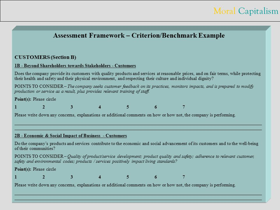 Moral Capitalism 19 Assessment Framework – Criterion/Benchmark Example 2.2.