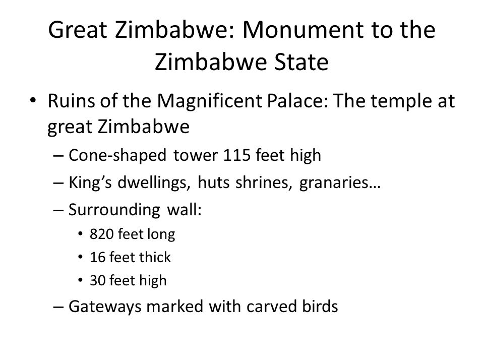 Great Zimbabwe: Monument to the Zimbabwe State Ruins of the Magnificent Palace: The temple at great Zimbabwe – Cone-shaped tower 115 feet high – King'