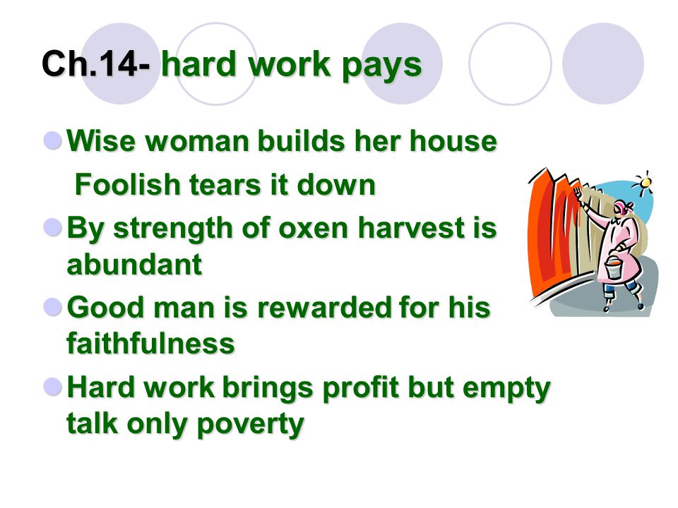 Ch.14- hard work pays Wise woman builds her house Wise woman builds her house Foolish tears it down Foolish tears it down By strength of oxen harvest is abundant By strength of oxen harvest is abundant Good man is rewarded for his faithfulness Good man is rewarded for his faithfulness Hard work brings profit but empty talk only poverty Hard work brings profit but empty talk only poverty