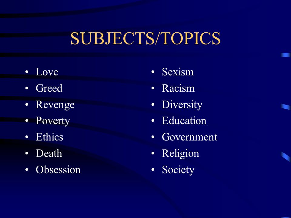TOPIC=SUBJECT Subject of a writing, speech, discussion, etc.