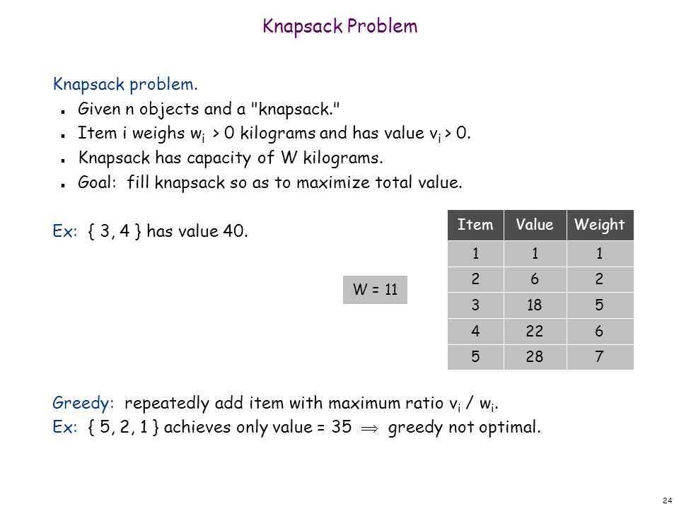 24 Knapsack Problem Knapsack problem. n Given n objects and a