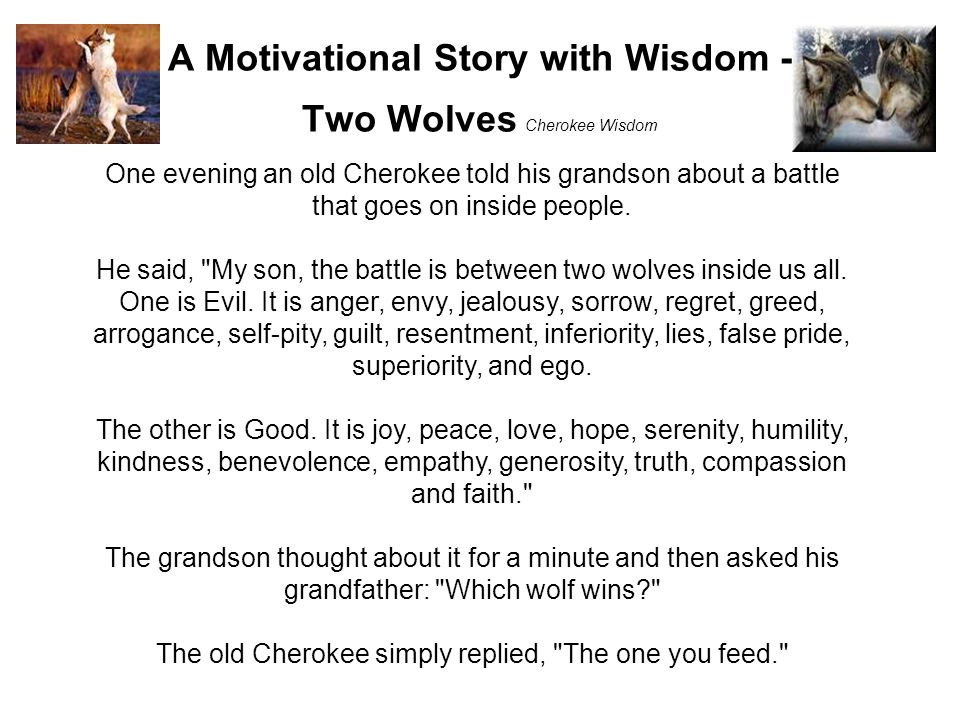 A Motivational Story with Wisdom - Two Wolves Cherokee Wisdom One evening an old Cherokee told his grandson about a battle that goes on inside people.