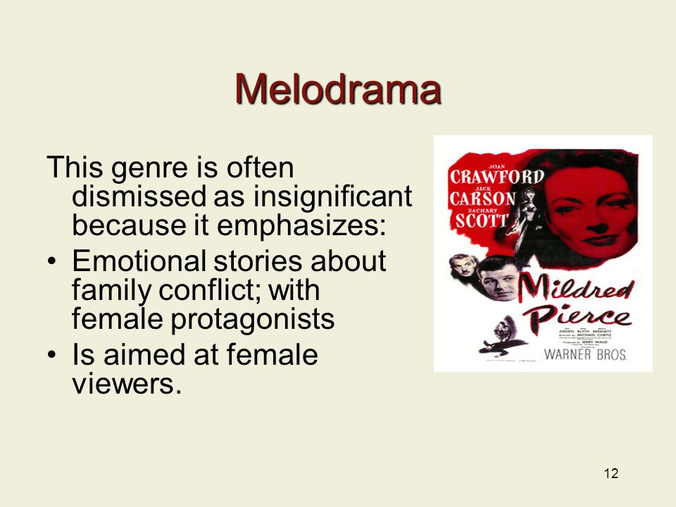12 Melodrama This genre is often dismissed as insignificant because it emphasizes: Emotional stories about family conflict; with female protagonists Is aimed at female viewers.