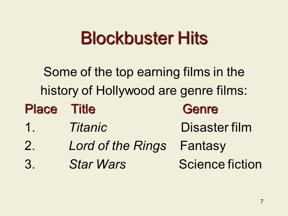 7 Blockbuster Hits Some of the top earning films in the history of Hollywood are genre films: Place Title Genre 1.