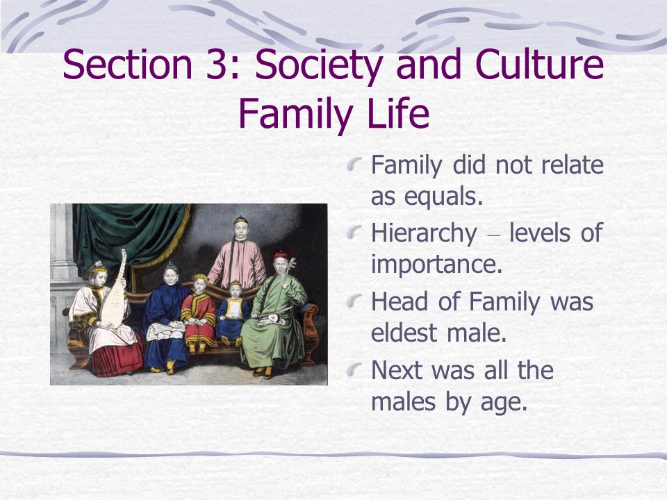 Section 3: Society and Culture Family Life Family did not relate as equals.