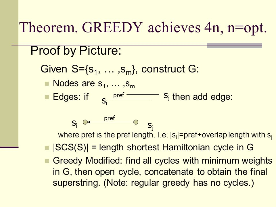 Theorem. GREEDY achieves 4n, n=opt.