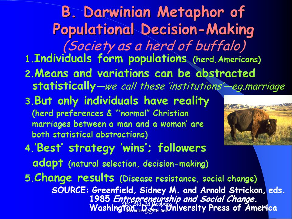 SEC Ltd--M.Rosberg mrosberg@btl.net 16 B. Darwinian Metaphor of Populational Decision-Making B.