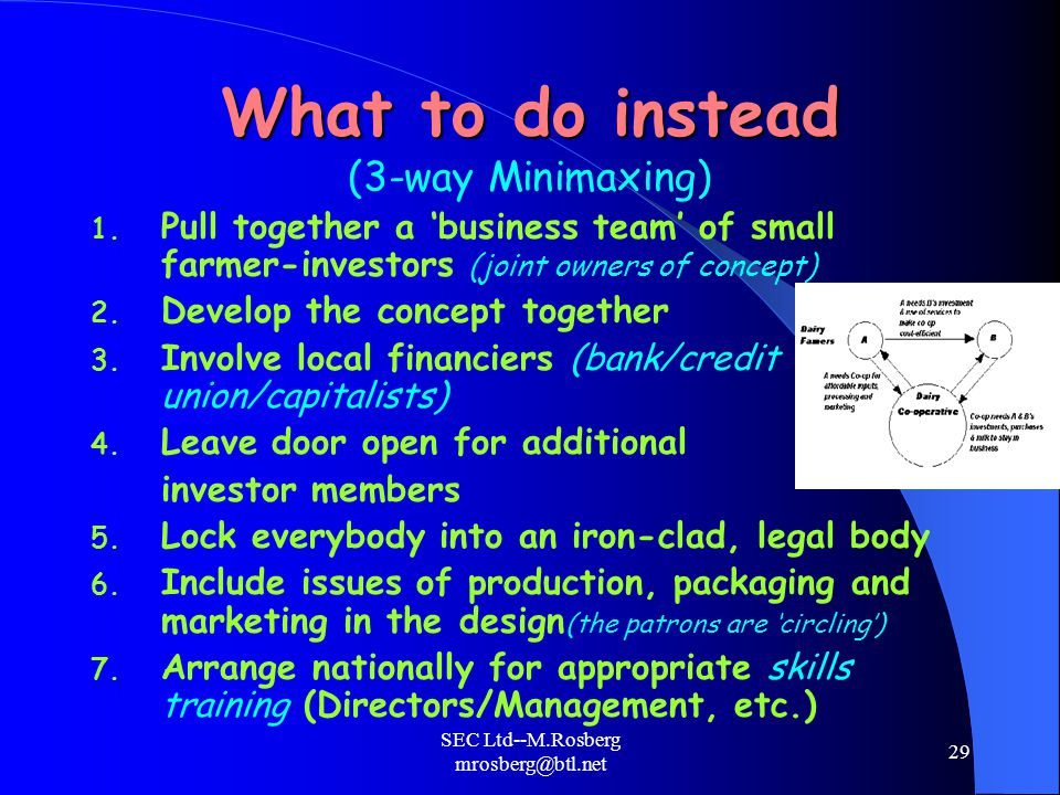 SEC Ltd--M.Rosberg mrosberg@btl.net 29 What to do instead What to do instead (3-way Minimaxing) 1.