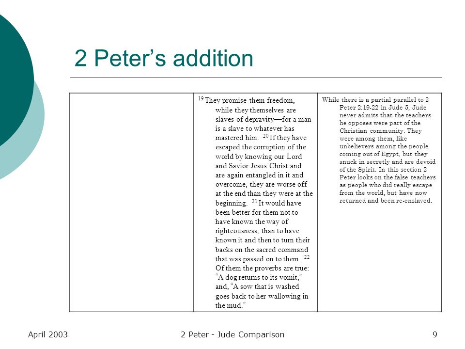 April 20032 Peter - Jude Comparison9 2 Peter's addition 19 They promise them freedom, while they themselves are slaves of depravity—for a man is a sla