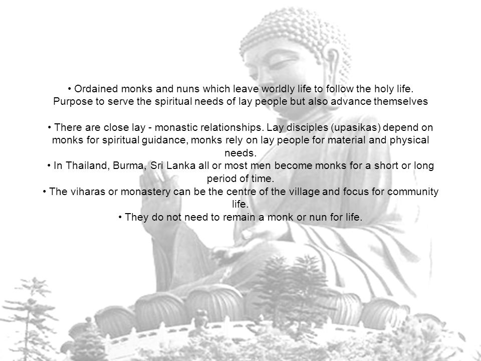 The discipline of the monastic community Monks and nuns living in community according to vinaya discpline.