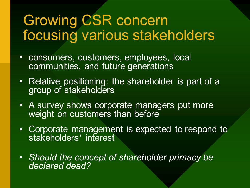 Growing CSR concern focusing various stakeholders consumers, customers, employees, local communities, and future generations Relative positioning: the shareholder is part of a group of stakeholders A survey shows corporate managers put more weight on customers than before Corporate management is expected to respond to stakeholders ' interest Should the concept of shareholder primacy be declared dead?