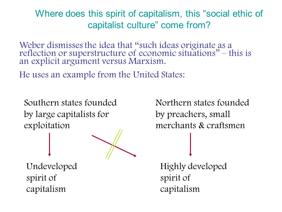 "Where does this spirit of capitalism, this ""social ethic of capitalist culture"" come from? Weber dismisses the idea that ""such ideas originate as a re"