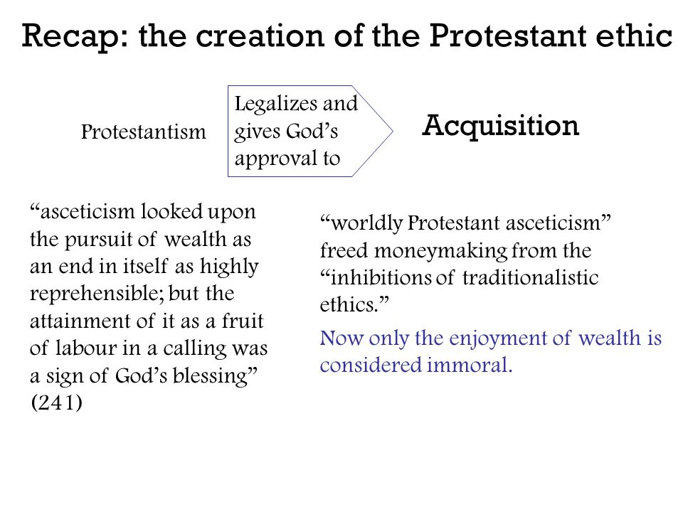 "Recap: the creation of the Protestant ethic Acquisition Protestantism Legalizes and gives God's approval to ""worldly Protestant asceticism"" freed mone"