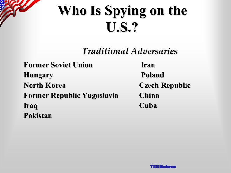 Former Soviet Union Iran Hungary Poland North Korea Czech Republic Former Republic Yugoslavia China Iraq Cuba Pakistan Who Is Spying on the U.S..
