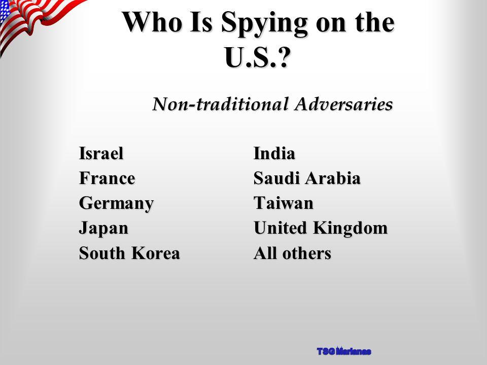 Israel India France Saudi Arabia Germany Taiwan Japan United Kingdom South Korea All others Who Is Spying on the U.S..
