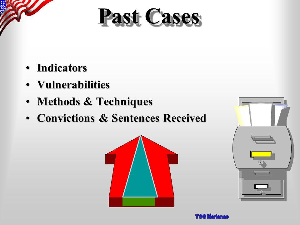 Past Cases IndicatorsIndicators VulnerabilitiesVulnerabilities Methods & TechniquesMethods & Techniques Convictions & Sentences ReceivedConvictions & Sentences Received