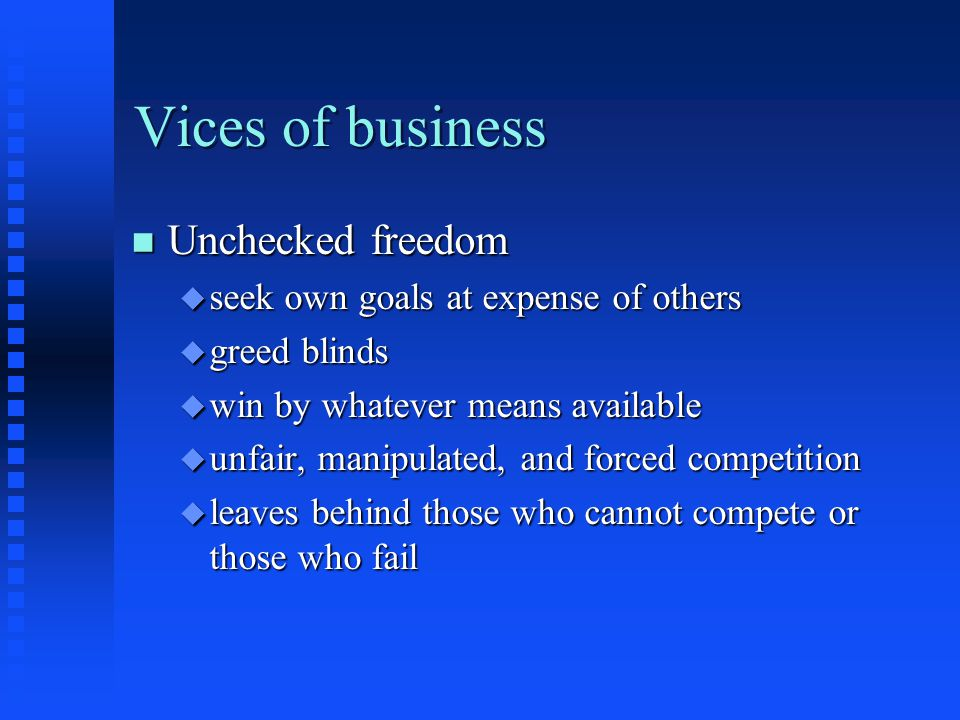The Relation of business and morality n The moral background of business u business - human activity u presupposes moral activity F honesty F honor agreements F honor advertisements F expect employers to be honest, respectful, and do job