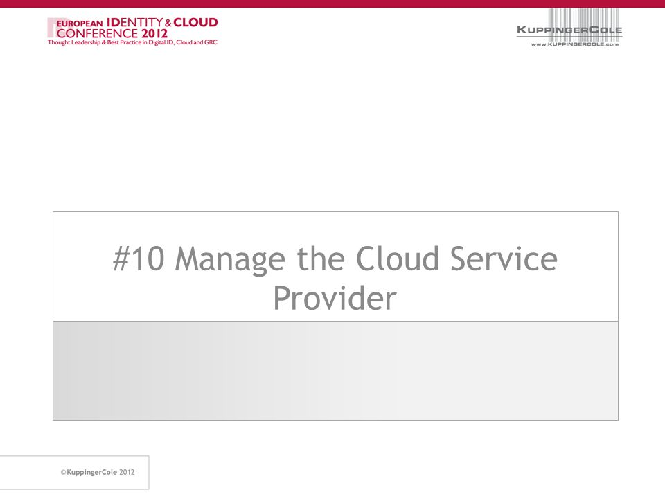 #10 Manage the Cloud Service Provider