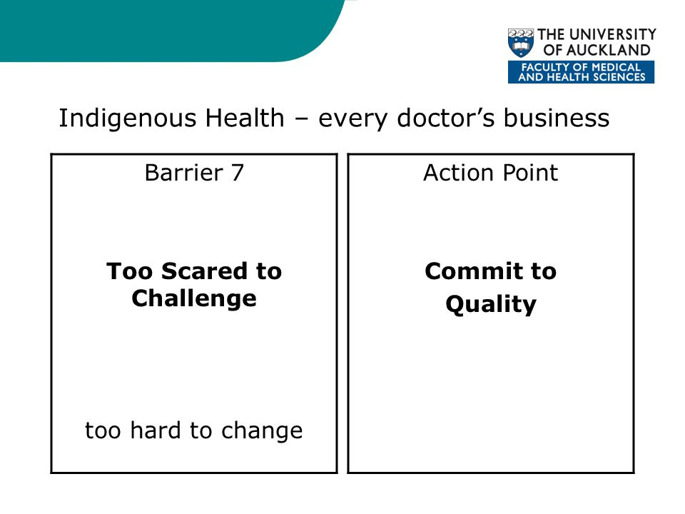 Indigenous Health – every doctor's business Barrier 7 Too Scared to Challenge too hard to change Action Point Commit to Quality