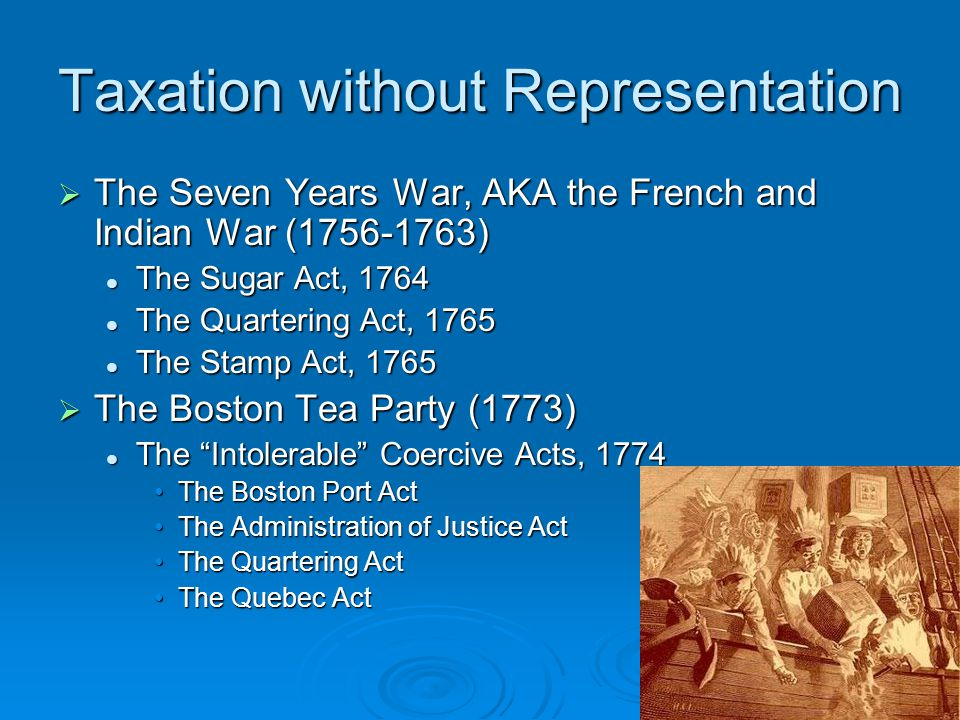 Taxation without Representation  The Seven Years War, AKA the French and Indian War (1756-1763) The Sugar Act, 1764 The Sugar Act, 1764 The Quarterin