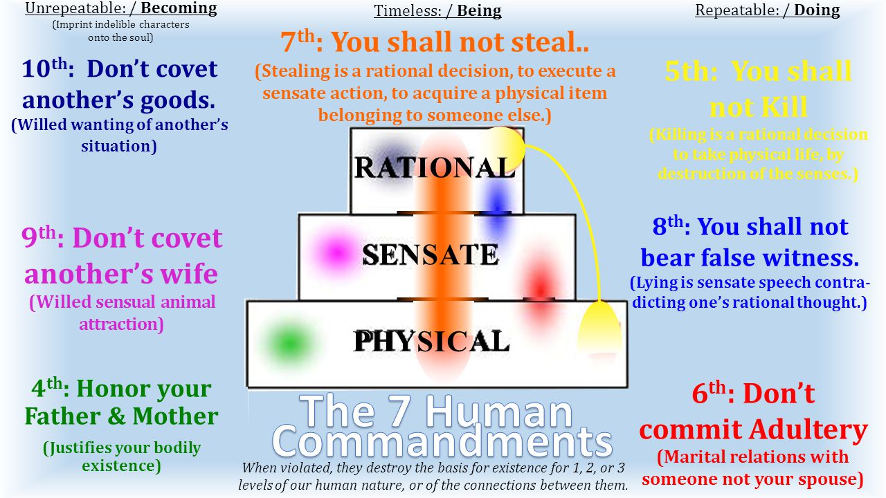 5th: You shall not Kill (Killing is a rational decision to take physical life, by destruction of the senses.) Unrepeatable: / Becoming (Imprint indelible characters onto the soul) Repeatable: / Doing 9 th : Don't covet another's wife (Willed sensual animal attraction) 10 th : Don't covet another's goods.