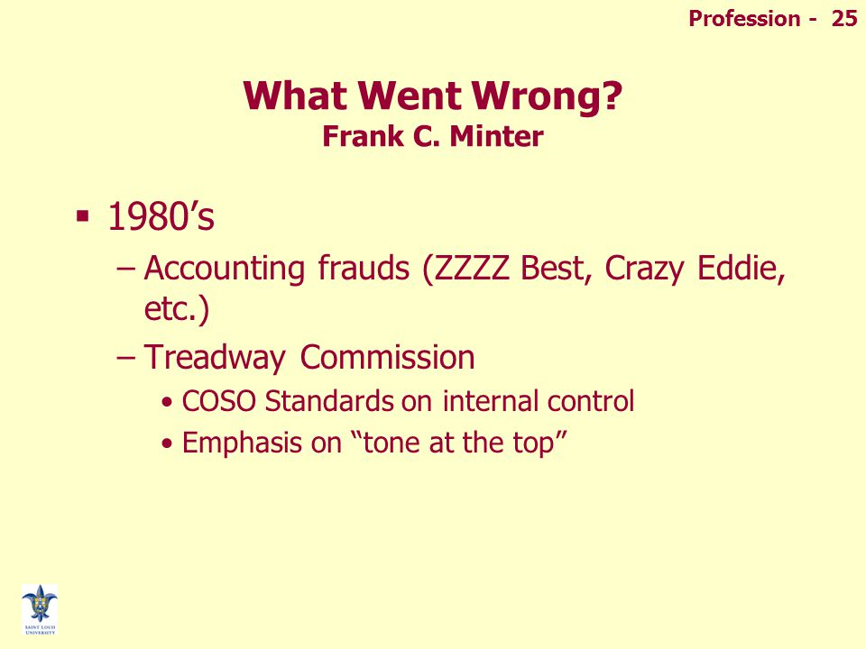 Profession - 25 What Went Wrong. Frank C.