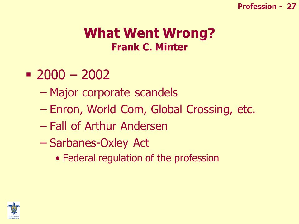 Profession - 27 What Went Wrong. Frank C.