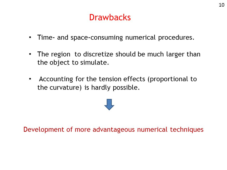 Drawbacks Time- and space-consuming numerical procedures.