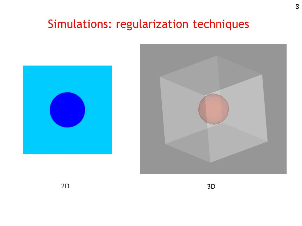 Simulations: regularization techniques 2D 3D 8