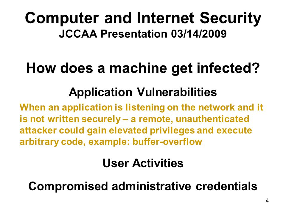 15 Computer and Internet Security JCCAA Presentation 03/14/2009 Orthrus – Information collected extended file information … process history (exceptions, and warnings) … Orthrus – Information transmitted secure http protocol (https://) Orthrus – Information not touched identity of the user and the computer