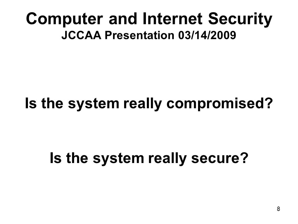 19 Computer and Internet Security JCCAA Presentation 03/14/2009 Orthrus Send questions on how to use Orthrus application to phsieh@rice.edu phsieh@rice.edu with the exact subject line Orthrus Questions All other inquires may be ignored