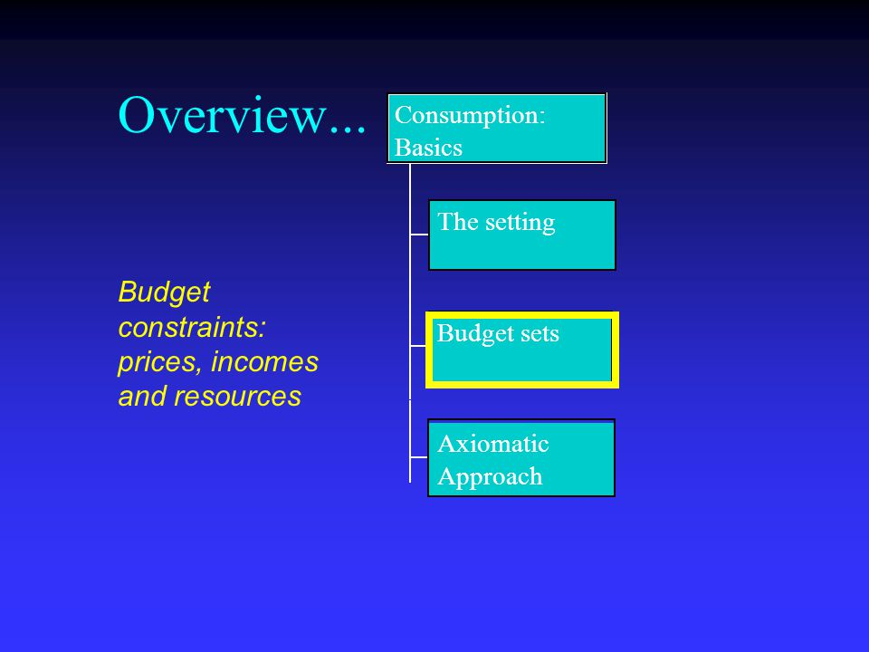 Overview... The setting Budget sets Axiomatic Approach Consumption: Basics Budget constraints: prices, incomes and resources