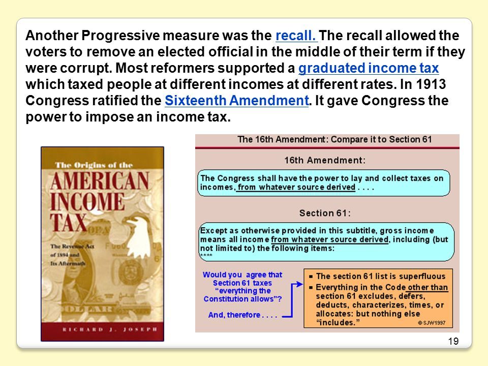19 Another Progressive measure was the recall.