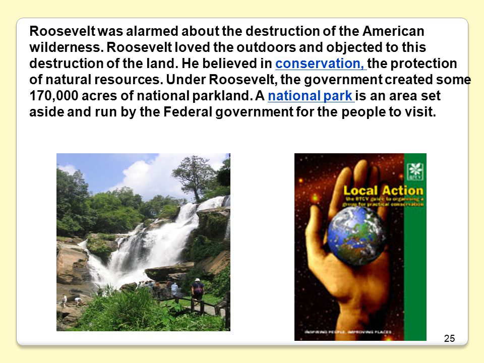 25 Roosevelt was alarmed about the destruction of the American wilderness.