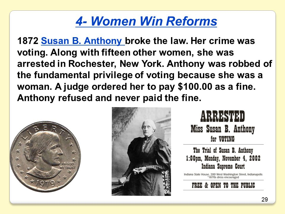 29 1872 Susan B.Anthony broke the law. Her crime was voting.