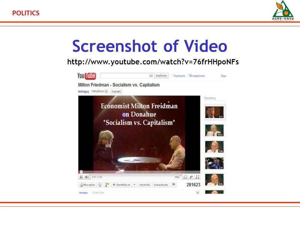 POLITICS Screenshot of Video http://www.youtube.com/watch v=76frHHpoNFs