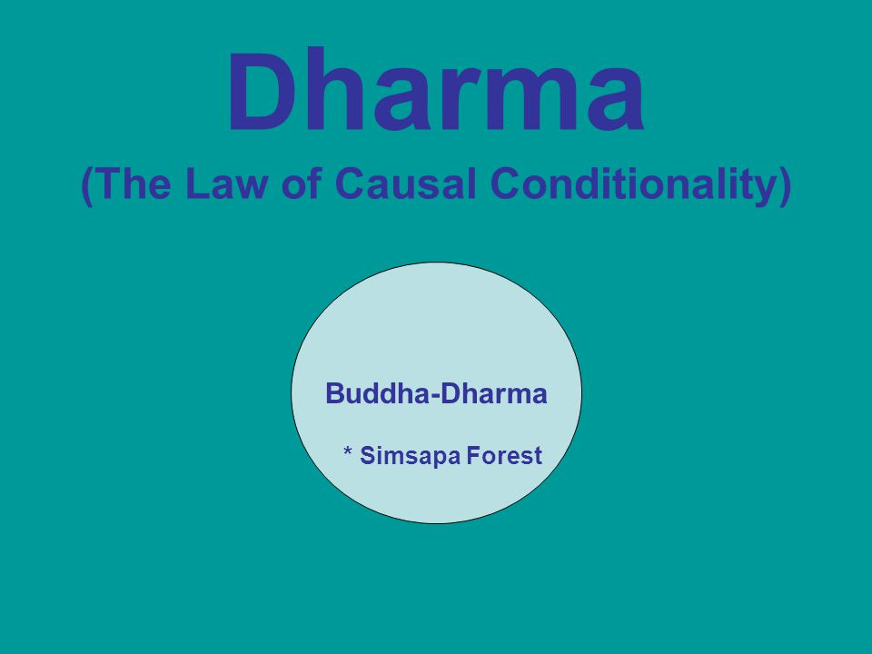 D harma (The Law of Causal Conditionality) Buddha-Dharma * Simsapa Forest