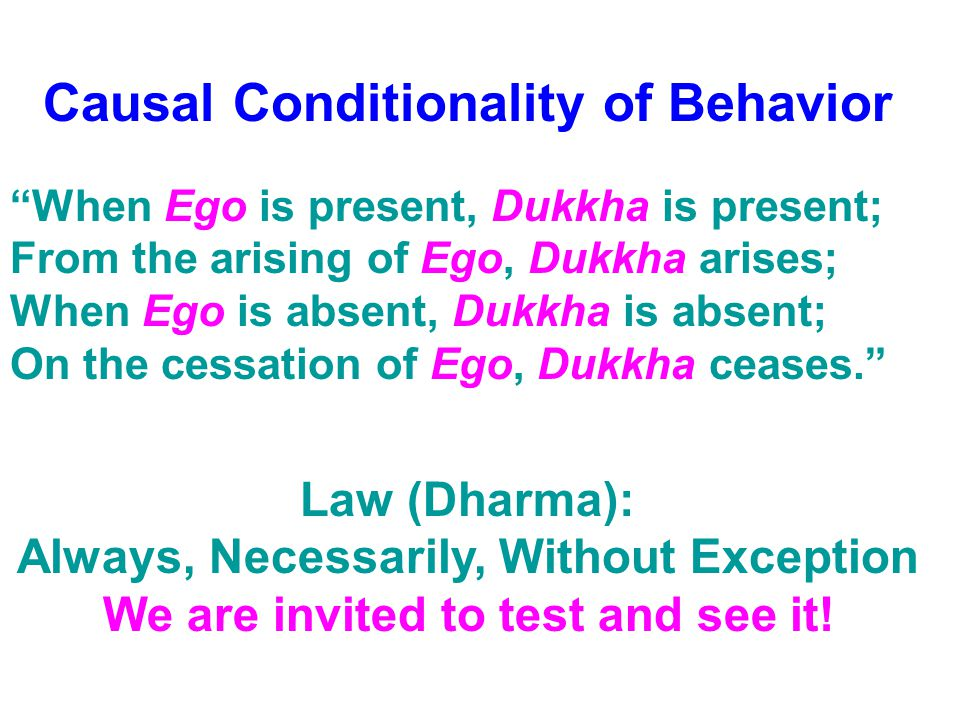 "Causal Conditionality of Behavior ""When Ego is present, Dukkha is present; From the arising of Ego, Dukkha arises; When Ego is absent, Dukkha is absen"