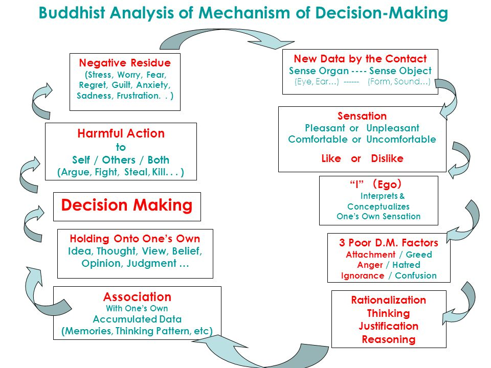 Buddhist Analysis of Mechanism of Decision-Making Negative Residue (Stress, Worry, Fear, Regret, Guilt, Anxiety, Sadness, Frustration.. ) Harmful Acti