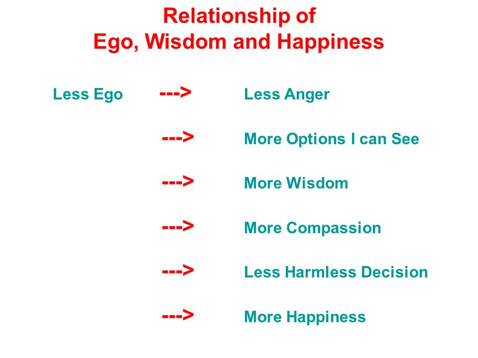 Relationship of Ego, Wisdom and Happiness Less Ego ---> Less Anger ---> More Options I can See ---> More Wisdom ---> More Compassion ---> Less Harmless Decision ---> More Happiness