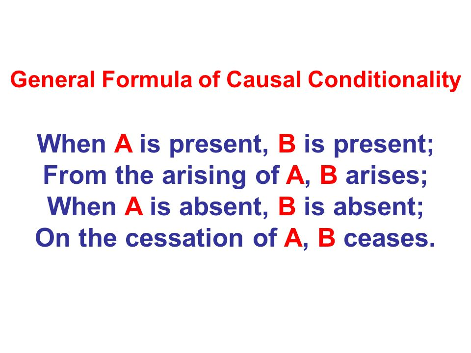 General Formula of Causal Conditionality When A is present, B is present; From the arising of A, B arises; When A is absent, B is absent; On the cessa