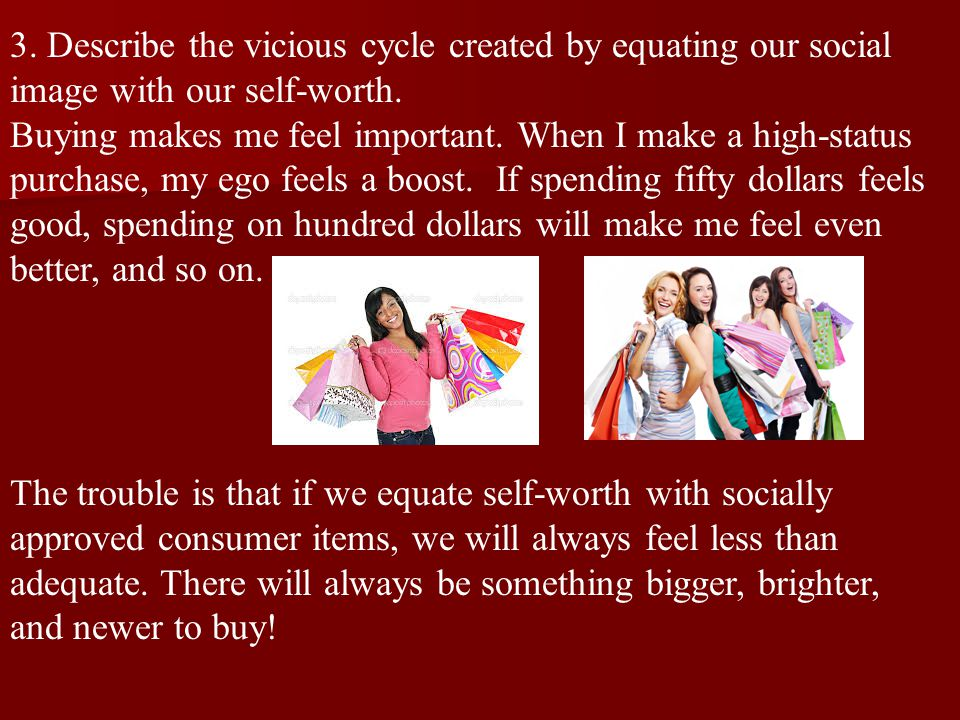 3.Describe the vicious cycle created by equating our social image with our self-worth.