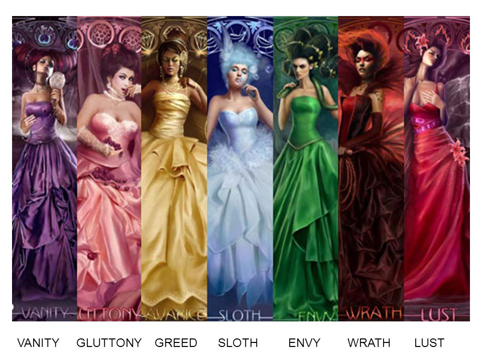 This was one large picture that depicted the 7 deadly sins and was made into 7 different skateboard designs.