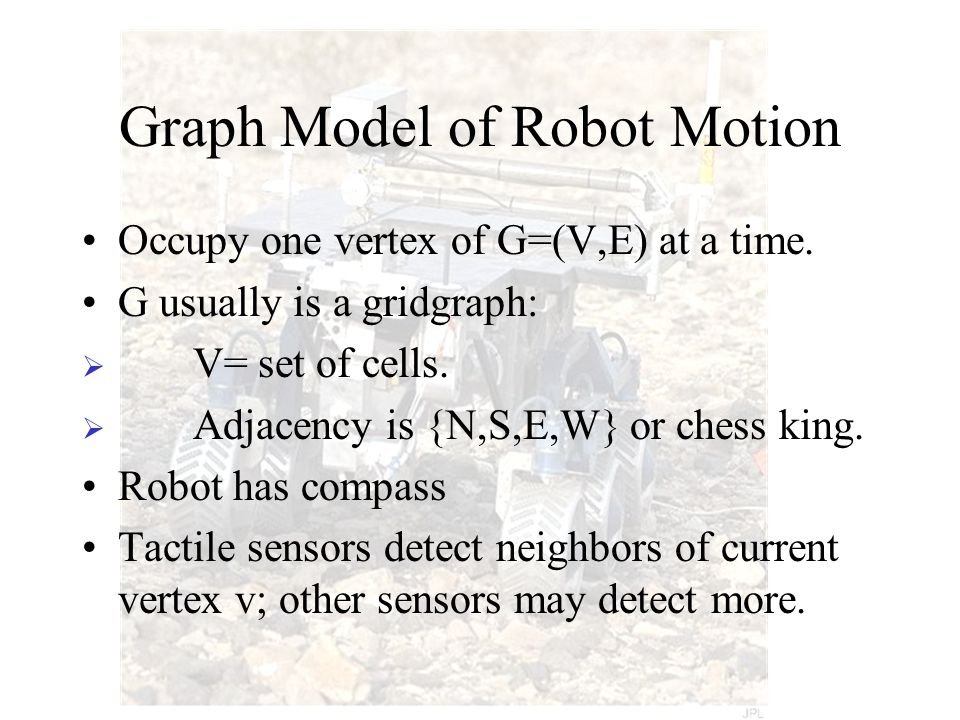 Graph Model of Robot Motion Occupy one vertex of G=(V,E) at a time.