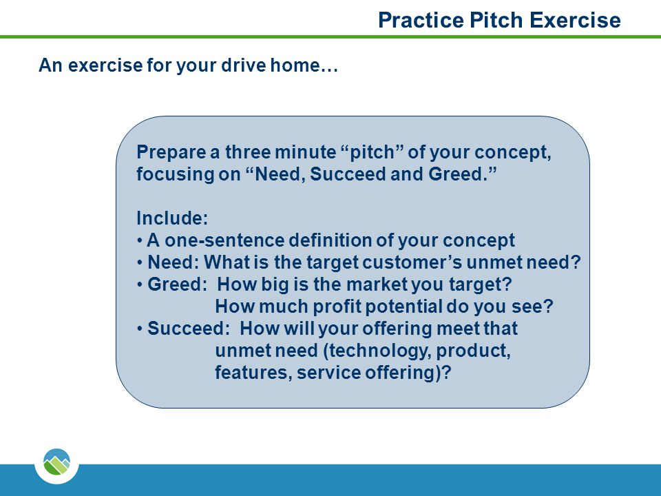"Practice Pitch Exercise Prepare a three minute ""pitch"" of your concept, focusing on ""Need, Succeed and Greed."" Include: A one-sentence definition of y"