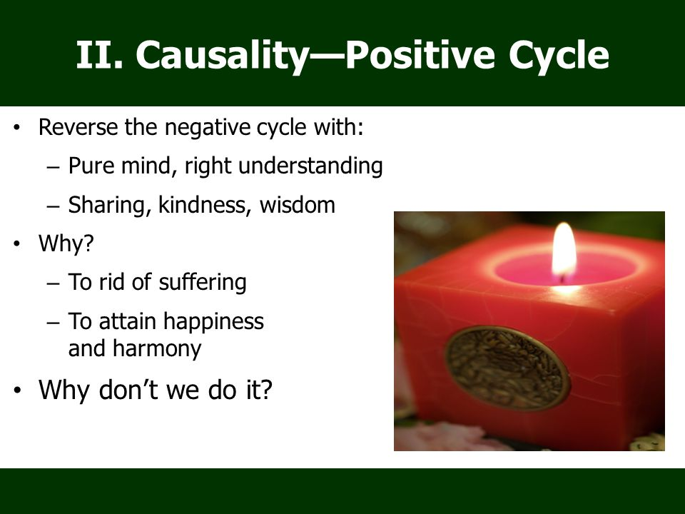 II. Causality—Positive Cycle Reverse the negative cycle with: – Pure mind, right understanding – Sharing, kindness, wisdom Why? – To rid of suffering