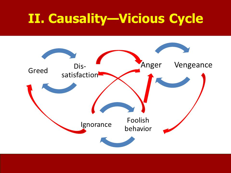 II. Causality—Vicious Cycle Foolish behavior Ignorance VengeanceAnger Dis- satisfaction Greed