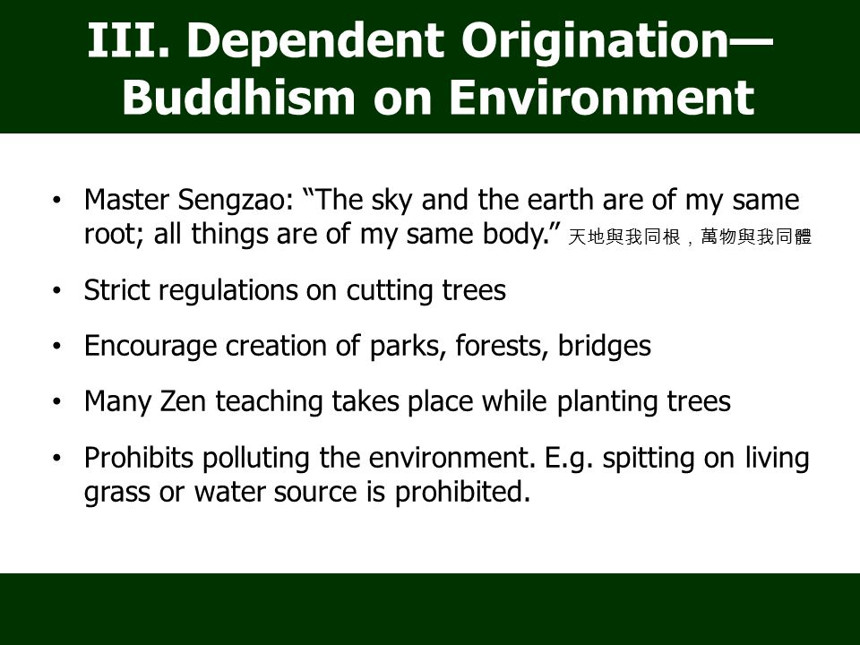 Master Sengzao: The sky and the earth are of my same root; all things are of my same body. 天地與我同根,萬物與我同體 Strict regulations on cutting trees Encourage creation of parks, forests, bridges Many Zen teaching takes place while planting trees Prohibits polluting the environment.
