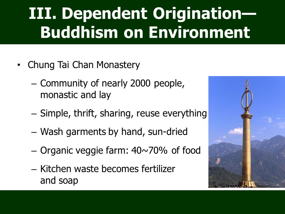 Chung Tai Chan Monastery – Community of nearly 2000 people, monastic and lay – Simple, thrift, sharing, reuse everything lifestyle – Wash garments by hand, sun-dried – Organic veggie farm: 40~70% of food – Kitchen waste becomes fertilizer and soap III.